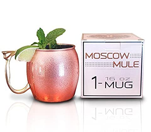 Craft Cocktails - Gift Box - Polished 16 Oz. Long Lasting Stainless Steel Lined - Copper Moscow Mule Mug by Craft Cocktails