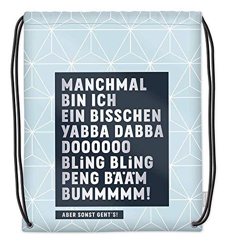Grafik Werkstatt Turnbeutel mit lustigem Spruch | Rucksack | Gym Bag | Sportbeutel | Gymsack | blau