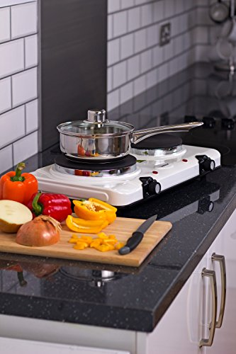 51WxdSBZK7L - Igenix IG8020 Portable Double Electric Hotplate, Table Top Hob, Double Boiling Ring Cooktop, 2250 W, White