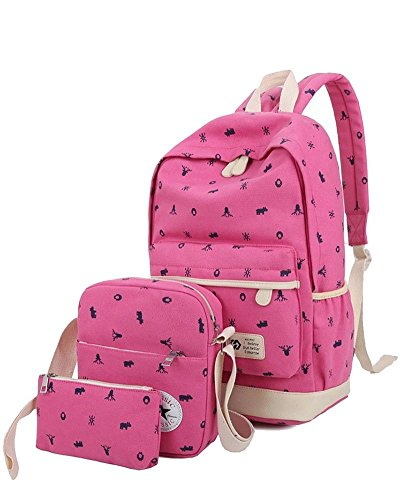 YiLianDa Bambini Borsa Tela Zaino Casual Scuola Zaini Donna Ragazza Canvas Backpack Zainetto 3 in 1 Rosso