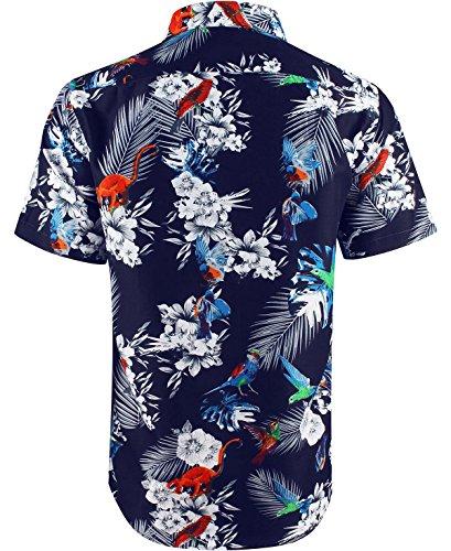 ENZO Uomo Camicia Hawaiana Stampa Fiori Maniche Lunghe o Corte Regular Fit Modello 5