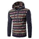 KPILP Kapuzenpullover Herren Sweatshirts Herbst Winter Warm Casual National Style Print Langarm-Hoodie Oberteile Bluse(DunkeHellgraurau, L)