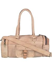 2dots Handmade Genuine Leather 25 Cms Brown Gym Bag Travel Duffel Bag - B06XX3G74M