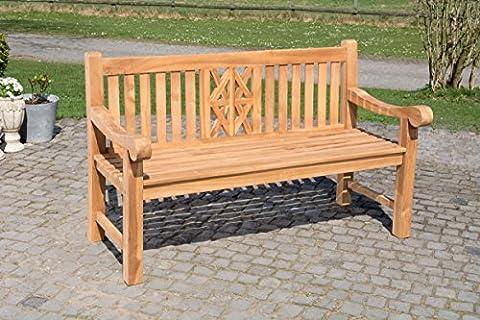 CLP Banc de jardin en bois de teck robuste FLORIDA V2, résistant à toutes les saisons, banquette avec dossier (2 tailles au choix) 200 x 72 x 92 cm (L x L x H)