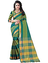 Vastrang Women's Cotton Silk Saree With Blouse Piece(A104_Green_Free Size)
