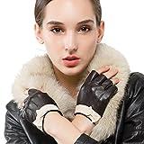 Nappaglo Damen Lederhandschuhe für fahren Halbfinger fingerlose Handschuhe für Fahren Outdoor Motorrad Radfahren Handschuhe (M (Umfang der Handfläche:17.8-19.0cm), Dunkelbraun)