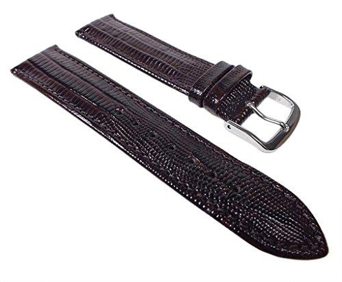 Eulit Teju-Print Ersatzband Uhrenarmband Kalbsleder Band Dunkelbraun 533_27S, Anstoß:22 mm