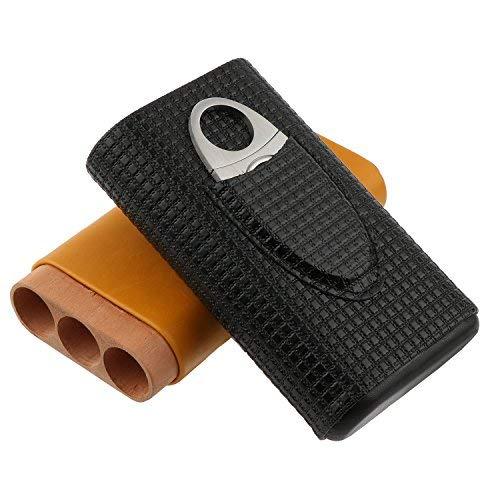 Zigarrentasche aus Leder, drei Stück Zigarren passen in die Tasche, Zigarrenschneider aus Edelstahl inkl.Tragbare Reise-Zigarrentasche aus Leder mit Zedernholz-Innenfutter.