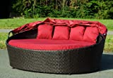 Hochwertige XL Rattan Sonneninsel Sonnenliege rostfreies Aluminiumgestänge großzügige Liegefläche 180 x 145 cm rot Test