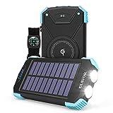 Power Bank Solar Ladegerät,10000mAh Externer Akku,Tragbare Notfall-Energie mit Type-C Eingangsports Dual LED-Lich,Kompass für iPhone,Samsung und andere Smartphones/Handys