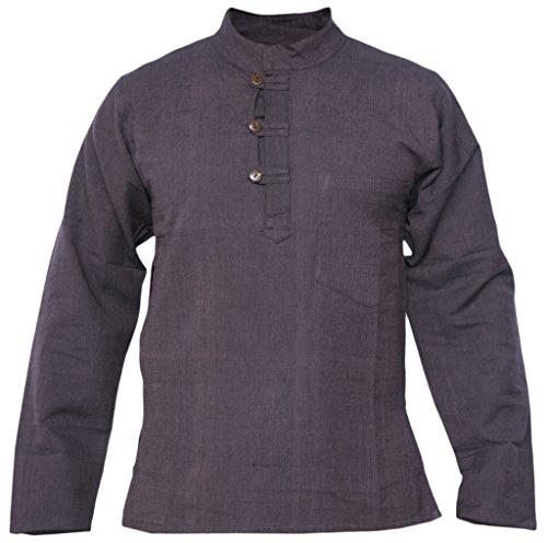Little Kathmandu Herren Hemp Baumwolle Plain Grandad Kein Kragen Tasche Hemd Braun Hemp