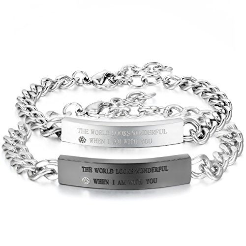 Jewelrywe bracciali da uomo donna in acciaio inossidabile colore argento, amore amanti san valentino regali coppia per lui & lei, incisione diy
