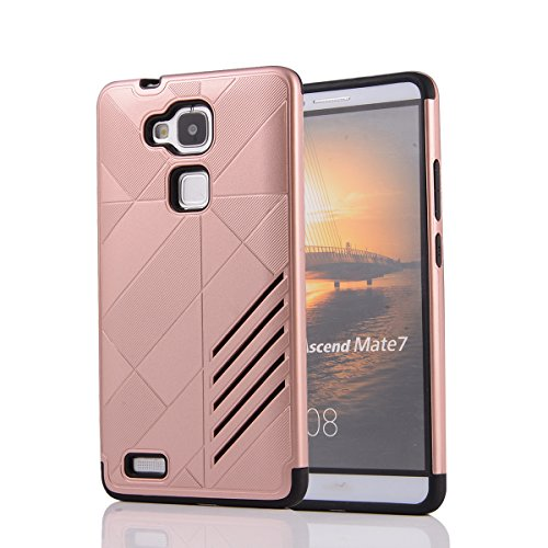 Huawei Ascend Mate 7 Hülle, Moonmini® 2 in 1 Hybrid Combo Body Armor TPU mit PC Kasten-Abdeckung für Huawei Ascend Mate 7 - Rose Gold