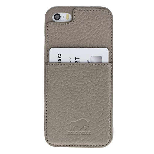 "Solo Pelle iPhone SE / 5 / 5S Case Lederhülle Ledertasche Backcover "" Slimfit "" (Floater Schwarz) inkl. Geschenkverpackung Floater Taupe"