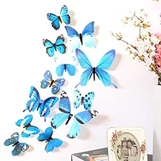Clearance Sale Brydon 12pcs Decal Wall Stickers Home Decorations 3D Butterfly Rainbow (Blue)