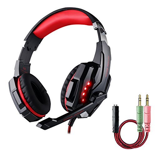 Gaming Headset PS4 PC, multifun Gaming Kopfhörer mit Mikrofon LED Licht für PS4 PC iPad Mac Laptop Handy Tablet Audio-Player Gaming Spielen Film Musik Chat 3.5mm Rot