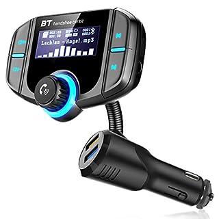 RBNANA Bluetooth FM Transmitter 5V/2.4A Quick Charger 3.0 KFZ Auto Wireless mp3 Player Audio Radio Adapter freisprecheinrichtung mit 2 USB Ladegerät