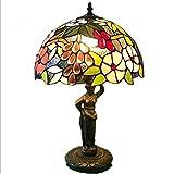 Tiffany Style Tischlampe, 12 Zoll Glasmalerei Grape Design Schreibtischlampe, europäischen Stil Wohnzimmer Schlafzimmer Nachttisch Hochzeit Dekoration Tischlampe E27 (ohne Lichtquelle) Glight