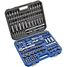 """Alyco 192386 - Juego 155 piezas llaves de vaso 1/2"""" + carraca extensible + adaptadores + puntas en maletin plastico"""