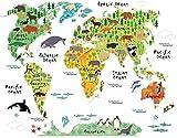 HALLOBO XXL Wandtattoo Weltkarte Kids Tier Fisch Wandaufkleber Wandsticker Kinderzimmer Kinder baby