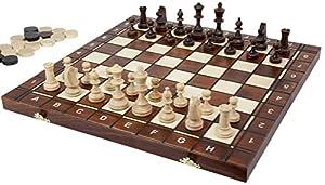 """Europea de ajedrez, Damas y Backgammon Juego Plegable 3en 1Juego, 16"""""""