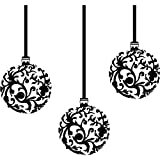 3 er Set Weihnachtskugeln (20 cm), Farbe: Schwarz, Motiv Christbaumkugeln, Weihnachtsdekoration, Fenster und Wand Aufkleber, Wand Windows-Art ThatVinylPlace Wandtattoo,