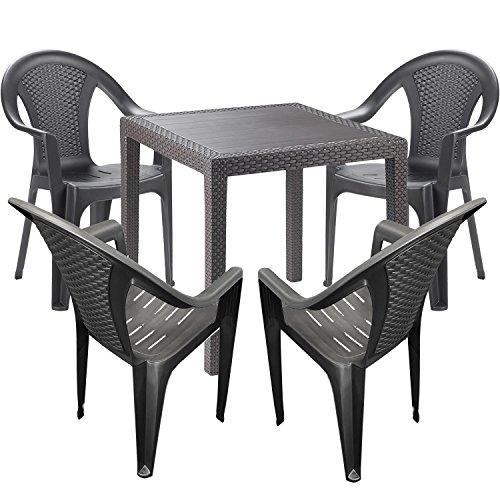 Mojawo Gartengarnitur - 5-teilig - Gartentisch Kunststoff 79x79cm H72cm - + 4 Stapelstühle - Kunststoff Anthrazit - Bistro Set - Esstisch - Stapelstuhl - Kunststoff-stühle