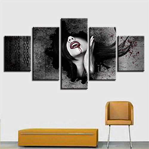 Rjjrr quadro quadro su tela decorazione moderna per la casa cuadros soggiorno 5 pannelli donna stampa hd pittura quadri modulari su tela camera da letto 200x100cm