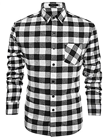 Hasuit Heavy Weight Plaid Flannel Shirt Men's Casual Button Down