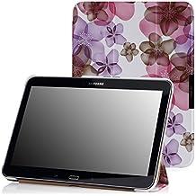 MoKo Samsung Galaxy Tab 4 10.1 / Tab 4 Nook 10.1 2014 Funda - Ultra Slim Ligera Smart-shell Funda Para Samsung Galaxy Tab4 10.1 Inch Tablet, Floral VIOLETA (Con Cierre Magnético Para Reposo Automático / NO va a caber el Tab 3 10.1)