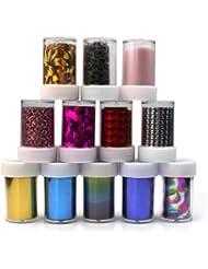12 Foil Ongle Manucure Stickers Métallique Rouleau Etoile Nail Art Transfert Tip