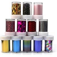 Pinzhi 12 Rollos Mixta Color Papel Foil Transferencia Decoración Uñas Arte Manicura