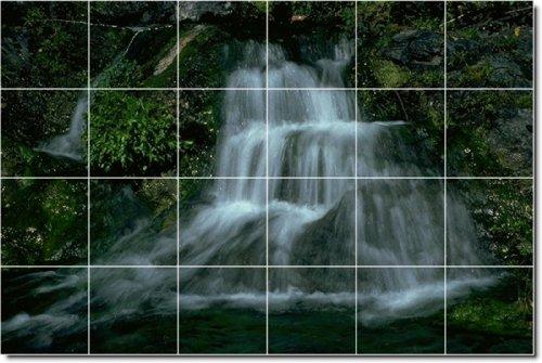 CASCADAS FOTO BALDOSA CERAMICA MURAL 4  32X 48CM CON (24) 8X 8AZULEJOS DE CERAMICA