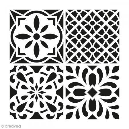 Artemio Fliese Zement Blumen Schablone Home Deko, Kunststoff, Mehrfarbig, 30 x 30 x 1 cm