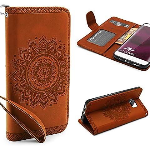 Urcover® Samsung Galaxy S7 Edge | Funda Carcasa Lotus Pattern | Marrón | Case Cover Protección Smartphone Móvil Accesorio