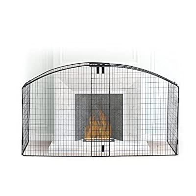 Relaxdays Round Fireplace Screen, Children Safety Fence, Spark Guard for Stoves & Fireplaces. Metal, Adjustable, Black