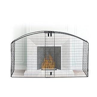 Relaxdays Protector de Chimenea Semicircular para Niños, Acero, Negro, 90 x 160 x 46.50 cm