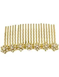 Flores de cristal boda novia Prom oro pelo peine Tiara diapositivas accesorios joyas