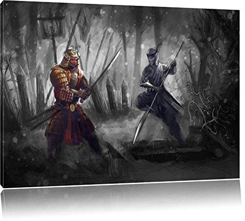 Kampf zwischen Samurai und Ninja B&W Detail, Format: 80x60 auf Leinwand, XXL riesige Bilder fertig gerahmt mit Keilrahmen, Kunstdruck auf Wandbild mit Rahmen, günstiger als Gemälde oder Ölbild, kein Poster (Kostüm Japanischen Karate Den)