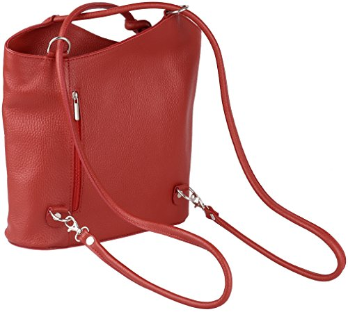 JosyJoe 'Ashley' Sac à dos et sac à main 2 en 1 en cuir véritable, Made in Italy, couleur:Blanc Rouge
