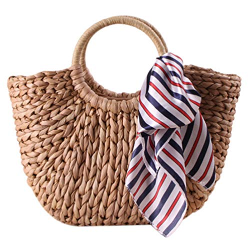 Dwqlx Frauen Stroh Handtasche Große Schulter Tasche Eimer Sommer Taschen Frauen Quaste Rattan Tasche Geflochten (Primärfarbe) Mit Schal -