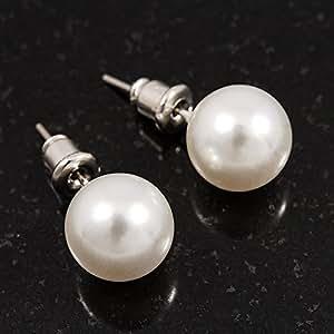 Boucles d'oreille fausse perle blanche lustrée (métal ton argent) - diamètre 9mm