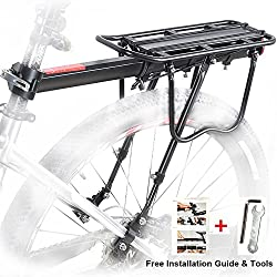 Bicicleta Trasera Rack, Bicicleta Equipaje Rack Aluminio Ciclismo Asiento Post Rack Mountain Bike MTB Equipaje Rack de Carga con Reflector
