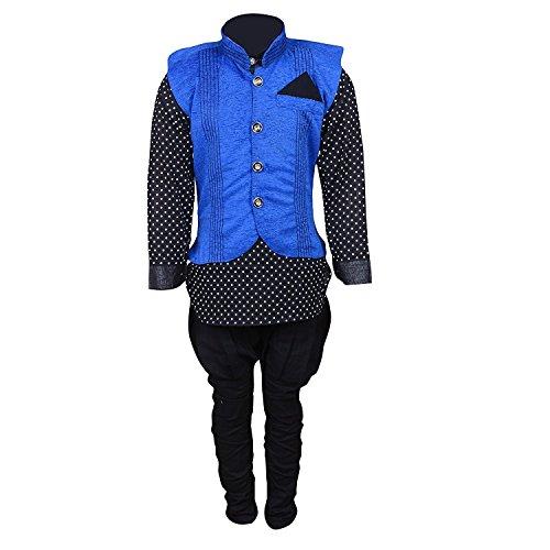 Ahhaaaa Boy's Blended Kurta Pyjama with Waistcoat (BLU171-28_Blue_5-6 Years)