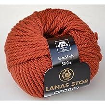 Lanas Stop Oporto - Lana para tejer, lana de merino 80% y alpaca 20%, supersuave, color castaña 740