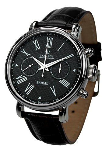 Poljot Int. Chronograph 'Baikal' Mechanische Armbanduhr für Herren Lederband Schwarz