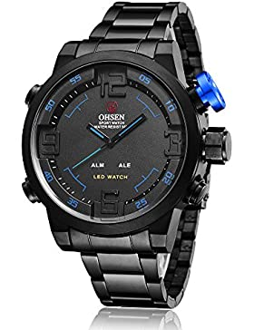 ShoppeWatch Herren LED Uhr Schwarz Metall Band Dual Zeit Datum Tage Sport Blau Hand Reloj de Hombre OH-252