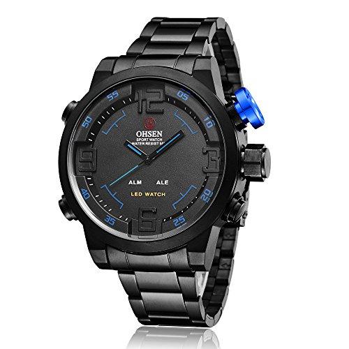 Sportuhr Digital Armbanduhr LED großes Gesicht Wasserdicht Militär Stoppuhr SIBOSUN Männer Quarzwerk Alarm Datum Schwarz Schwarz Blau