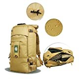 YAAGLE Mens Womens Military Combat Tactical 50L/60LWaterproof 900D Oxford Sports Biking Hiking Cycling Climbing Camping Rucksack Outdoor Backpack Travel Duffle Bag 15.6/17-inch Laptop Pack Army Yellow