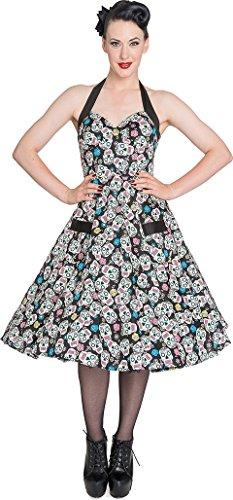 Hell Bunny Damen Kleid Calaveras Sugar Skull Swing Dress Schwarz S